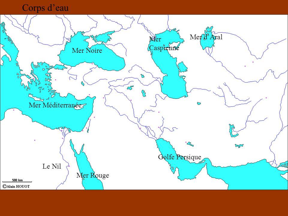 Corps d'eau Mer d'Aral Mer Caspienne Mer Noire Mer Méditerranée