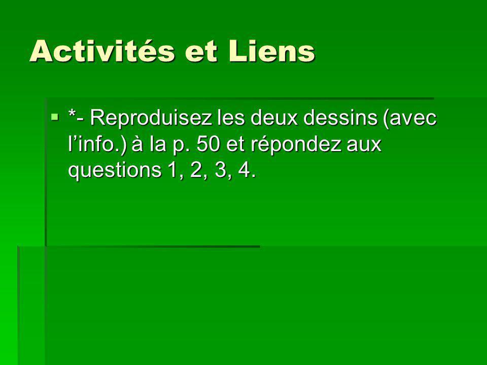 Activités et Liens *- Reproduisez les deux dessins (avec l'info.) à la p.