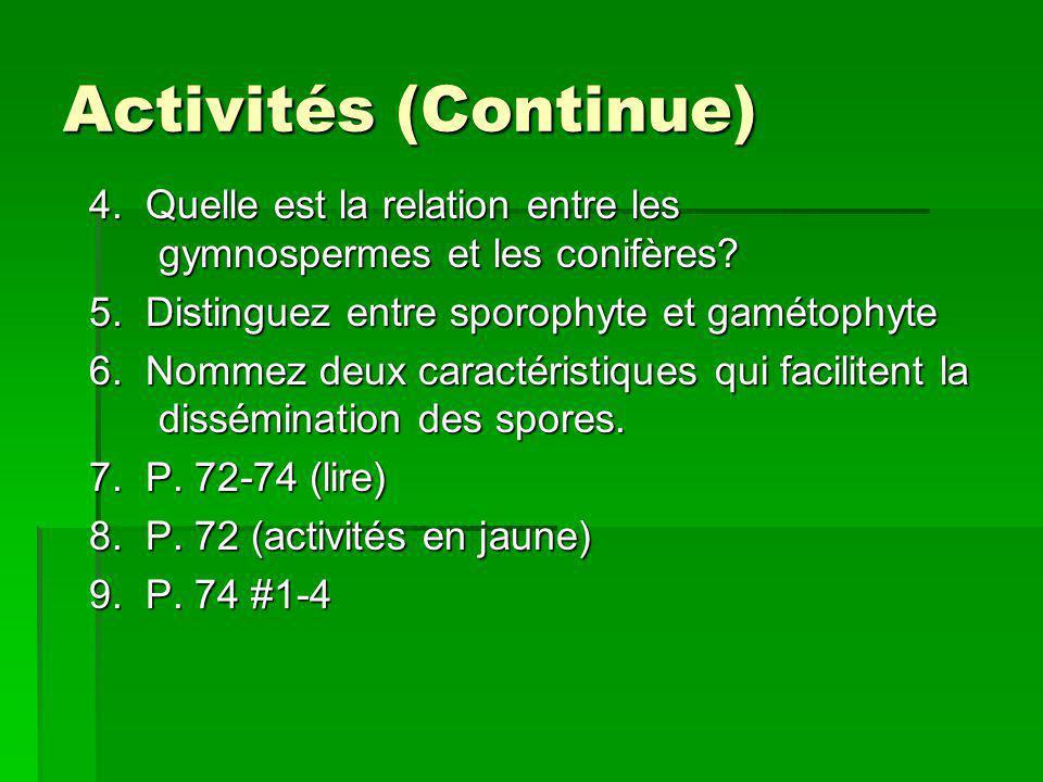Activités (Continue) 4. Quelle est la relation entre les gymnospermes et les conifères 5. Distinguez entre sporophyte et gamétophyte.