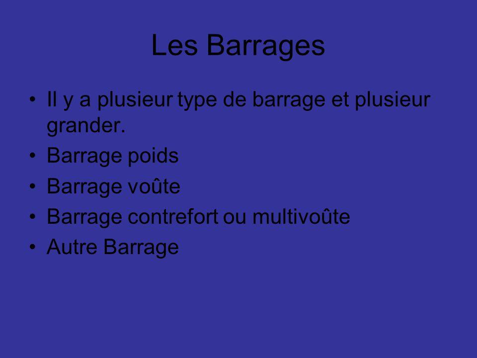 Les Barrages Il y a plusieur type de barrage et plusieur grander.