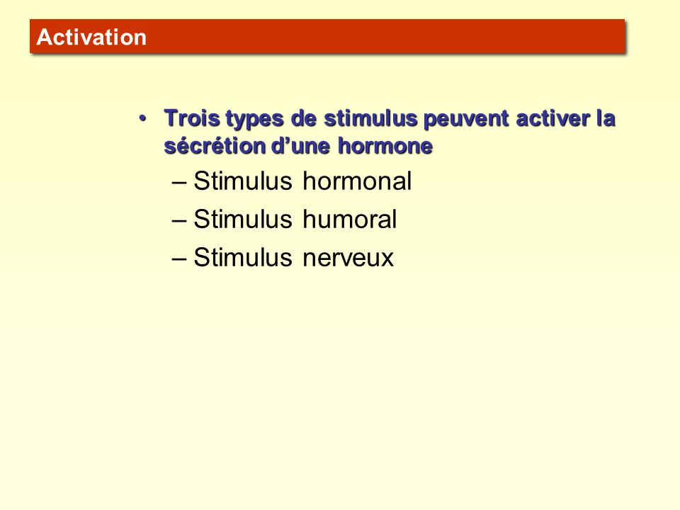 Stimulus hormonal Stimulus humoral Stimulus nerveux Activation