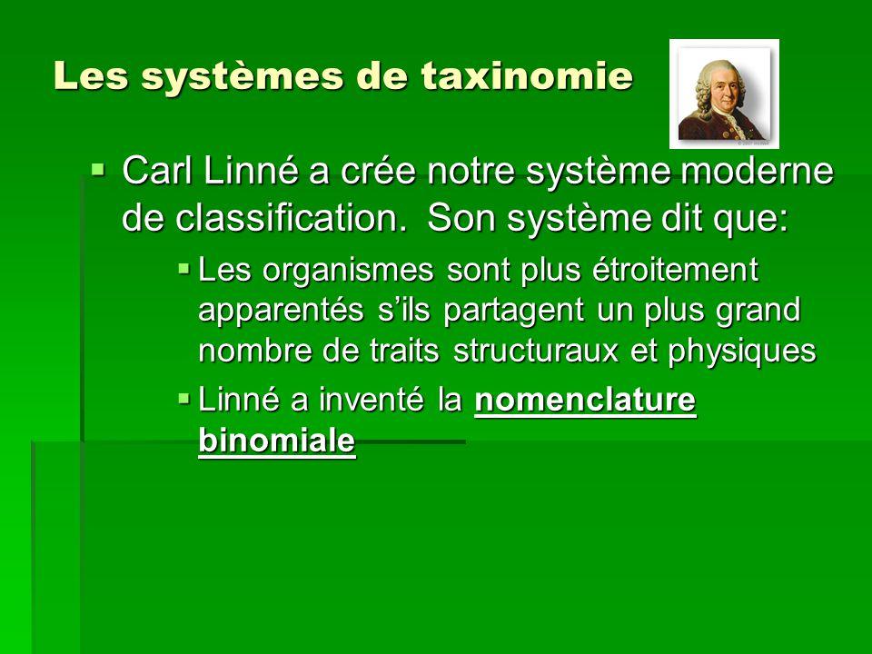 Les systèmes de taxinomie