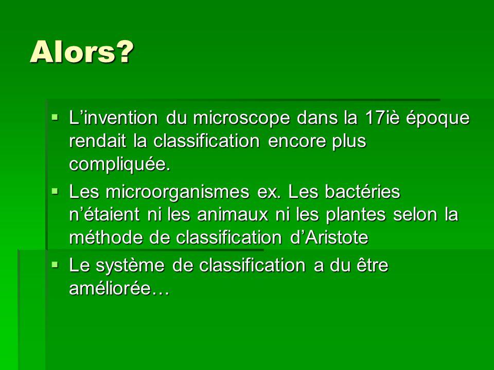 Alors L'invention du microscope dans la 17iè époque rendait la classification encore plus compliquée.