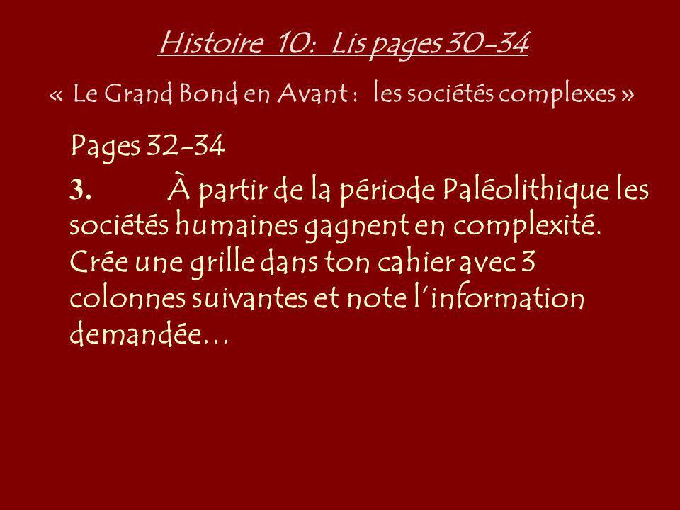 Histoire 10: Lis pages 30-34 « Le Grand Bond en Avant : les sociétés complexes »
