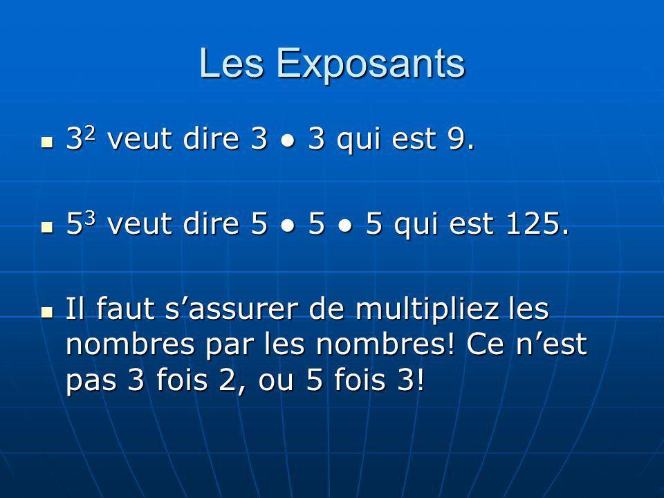 Les Exposants 32 veut dire 3 ● 3 qui est 9.