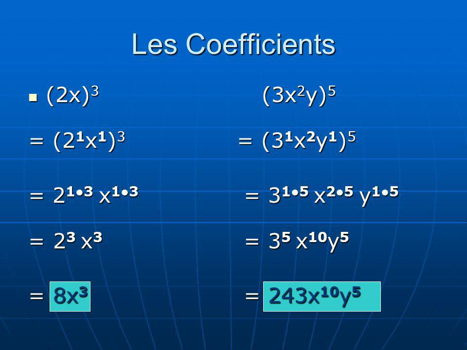 Les Coefficients (2x)3 (3x2y)5 = (21x1)3 = (31x2y1)5