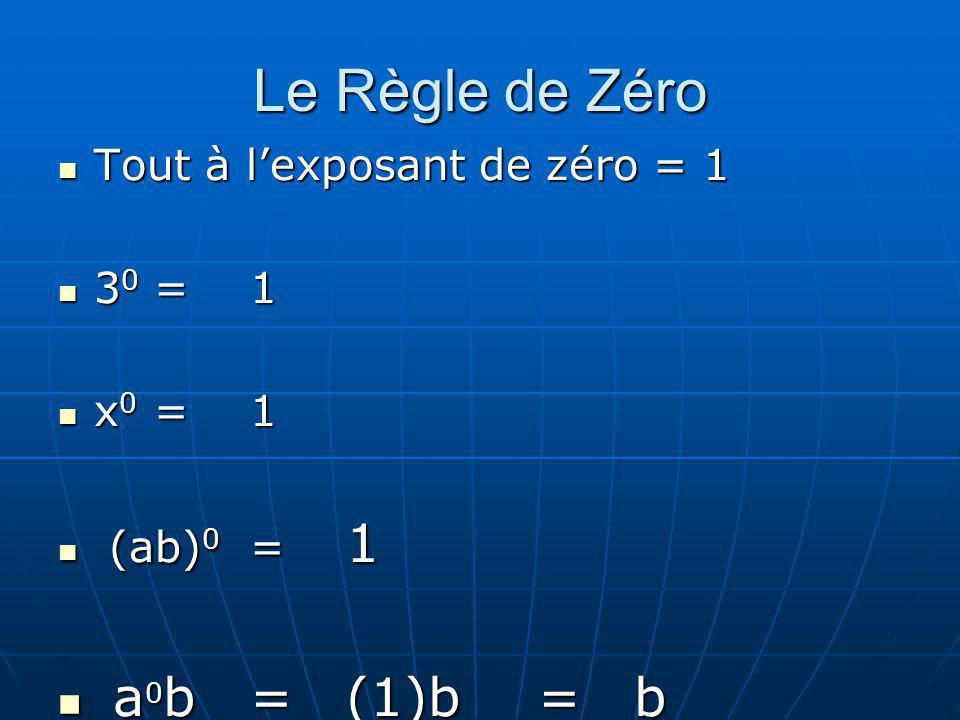 Le Règle de Zéro a0b = (1)b = b Tout à l'exposant de zéro = 1 30 = 1