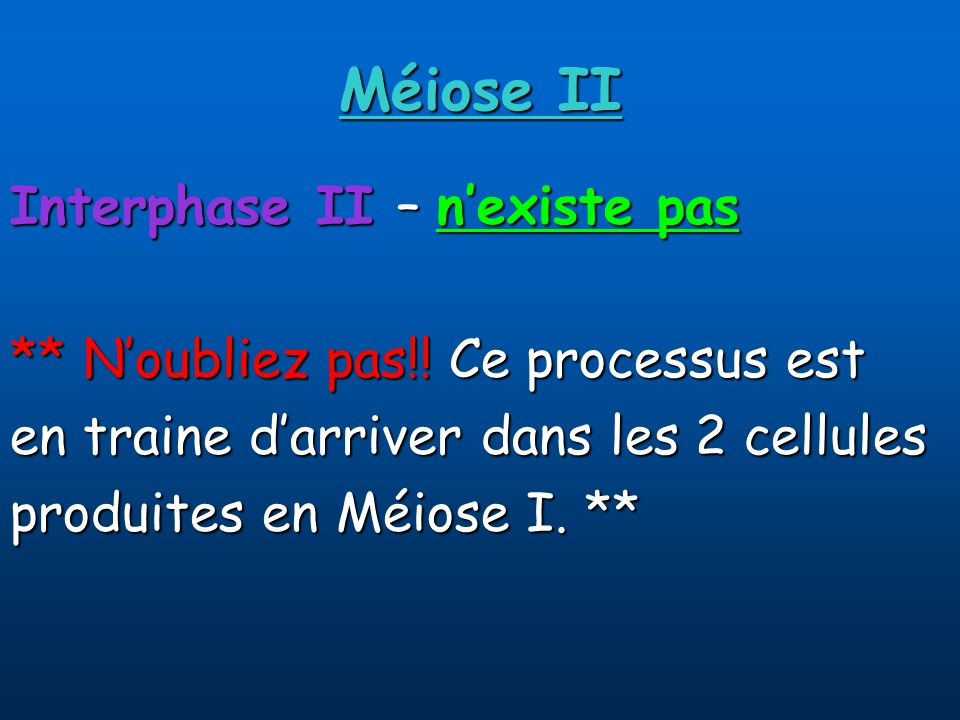 Méiose II Interphase II – n'existe pas