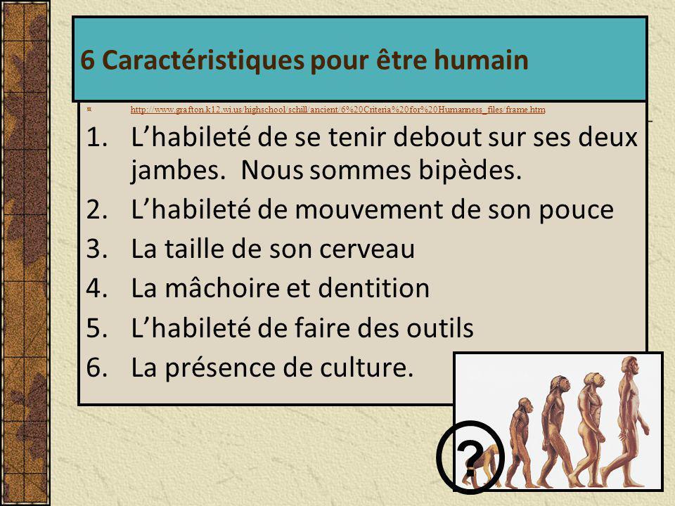 6 Caractéristiques pour être humain
