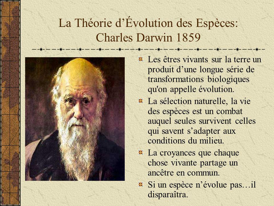 La Théorie d'Évolution des Espèces: Charles Darwin 1859