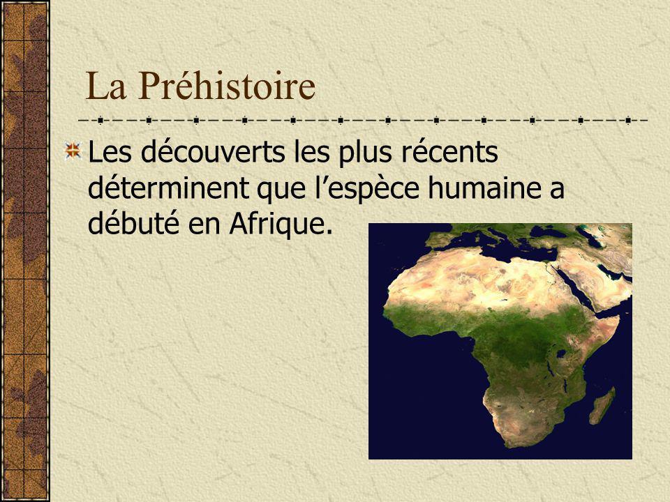 La Préhistoire Les découverts les plus récents déterminent que l'espèce humaine a débuté en Afrique.