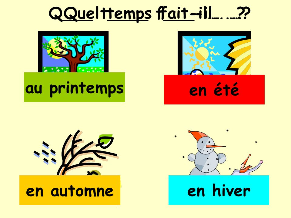 Q___ t____ f___-il… … Quel temps fait-il… … au printemps en été en automne en hiver