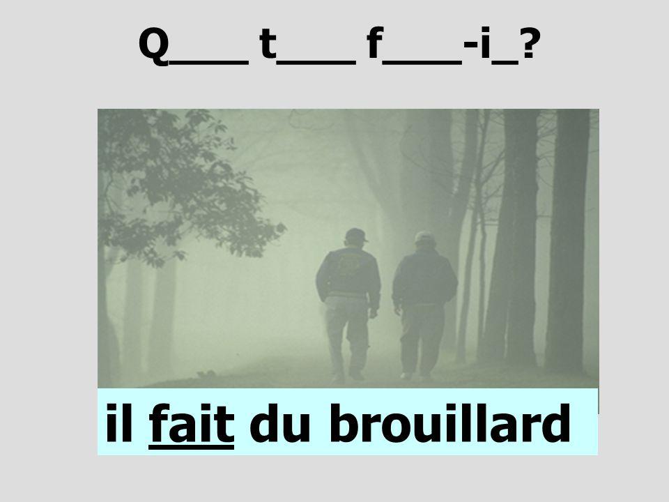 Q___ t___ f___-i_ il fait du brouillard