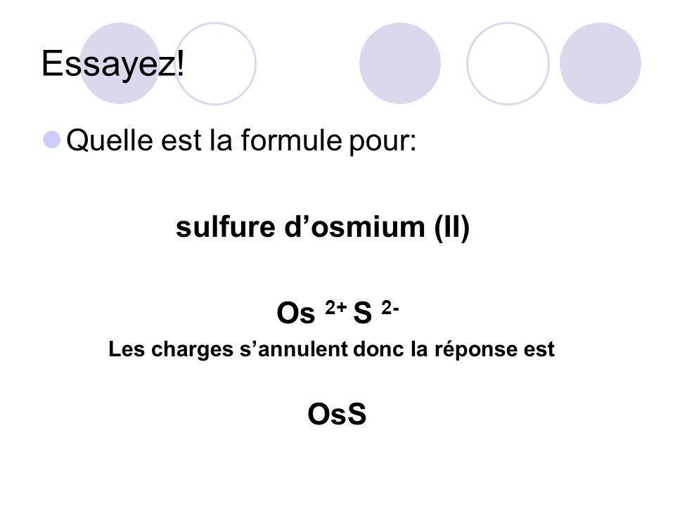 Essayez! Quelle est la formule pour: sulfure d'osmium (II) Os 2+ S 2-
