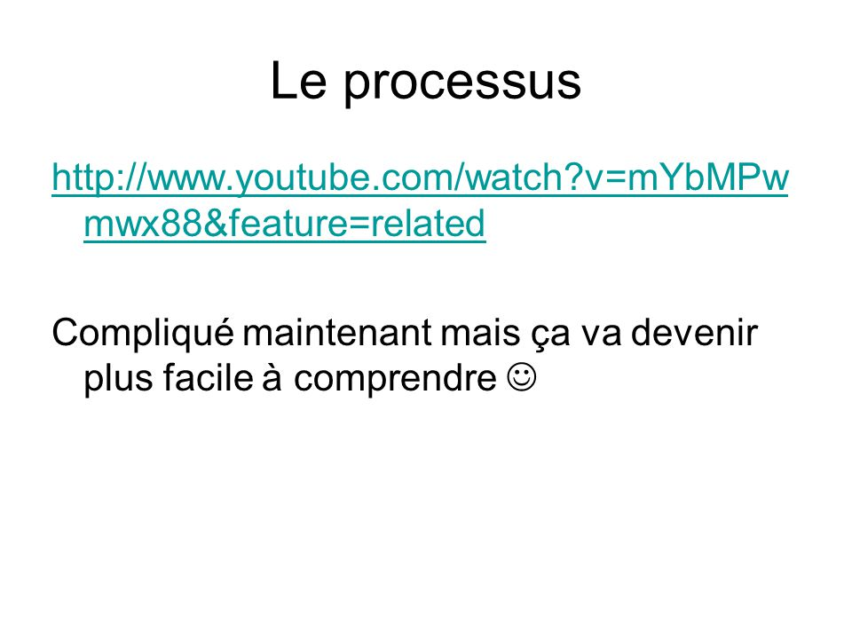 Le processus http://www.youtube.com/watch v=mYbMPwmwx88&feature=related.