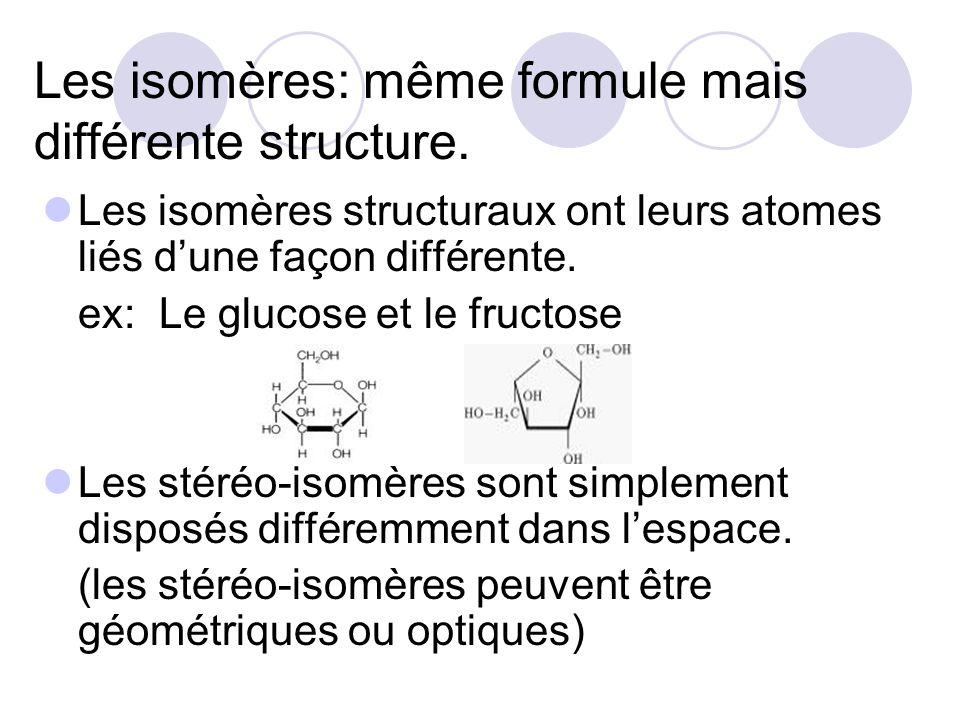 Les isomères: même formule mais différente structure.