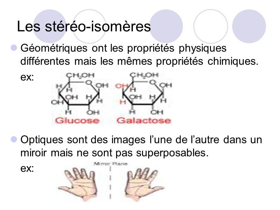 Les stéréo-isomères Géométriques ont les propriétés physiques différentes mais les mêmes propriétés chimiques.