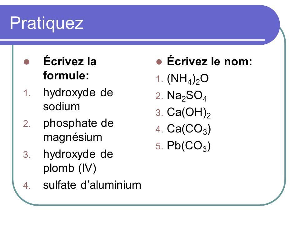 Pratiquez Écrivez la formule: hydroxyde de sodium