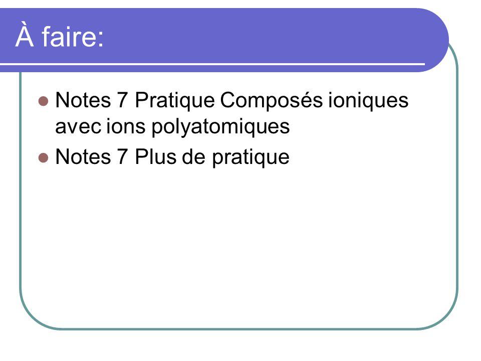 À faire: Notes 7 Pratique Composés ioniques avec ions polyatomiques