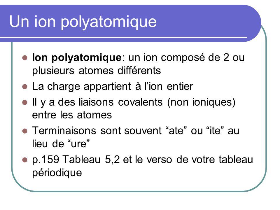 Un ion polyatomique Ion polyatomique: un ion composé de 2 ou plusieurs atomes différents. La charge appartient à l'ion entier.