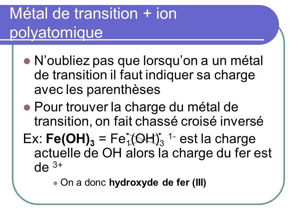 Métal de transition + ion polyatomique