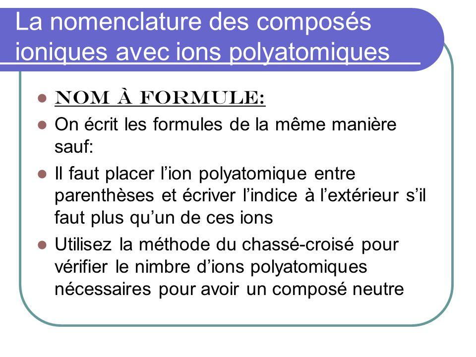 La nomenclature des composés ioniques avec ions polyatomiques