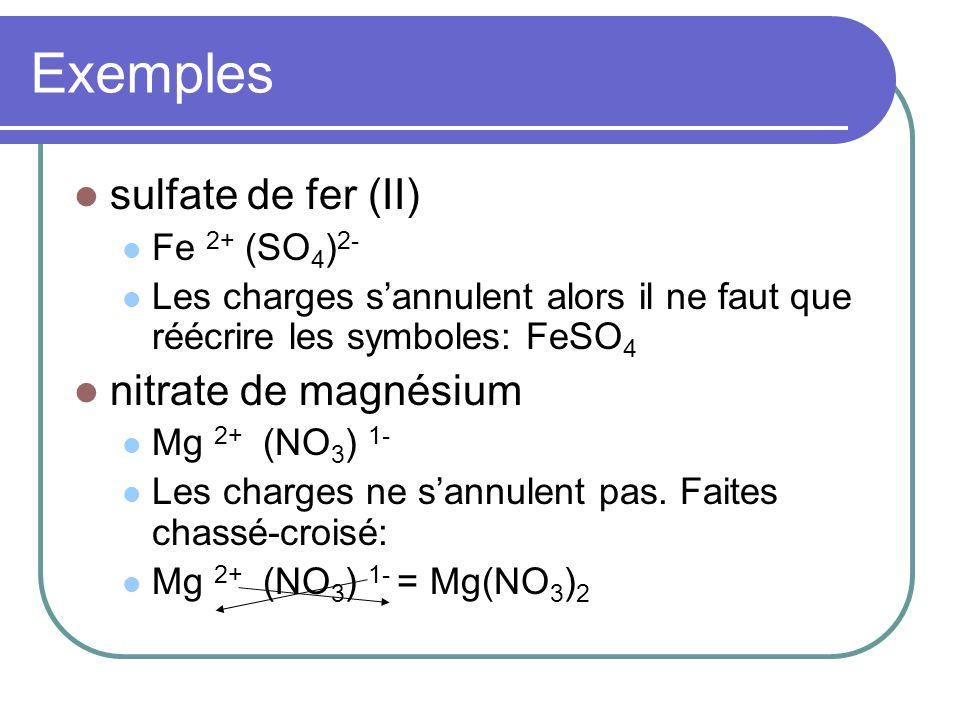 Exemples sulfate de fer (II) nitrate de magnésium Fe 2+ (SO4)2-