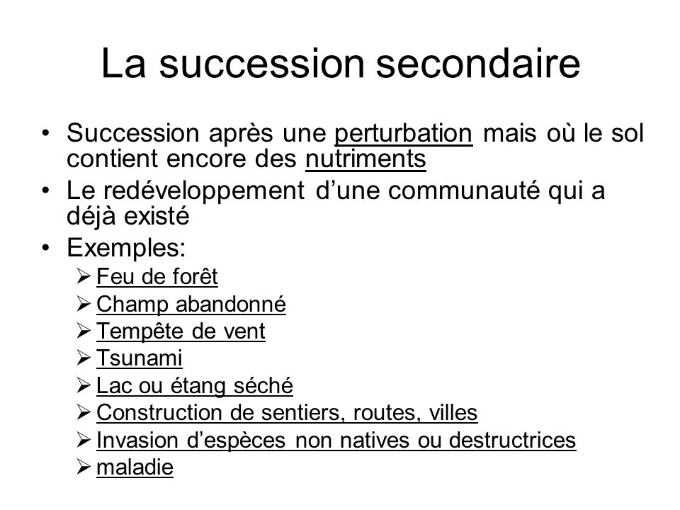 La succession secondaire