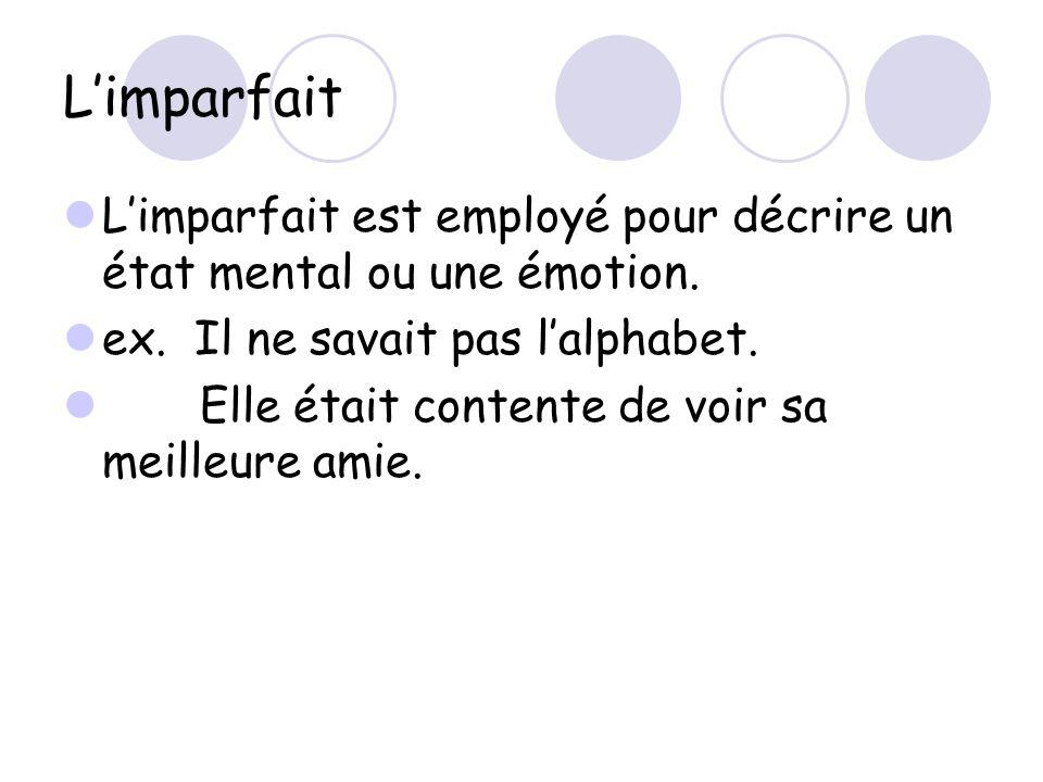 L'imparfait L'imparfait est employé pour décrire un état mental ou une émotion. ex. Il ne savait pas l'alphabet.