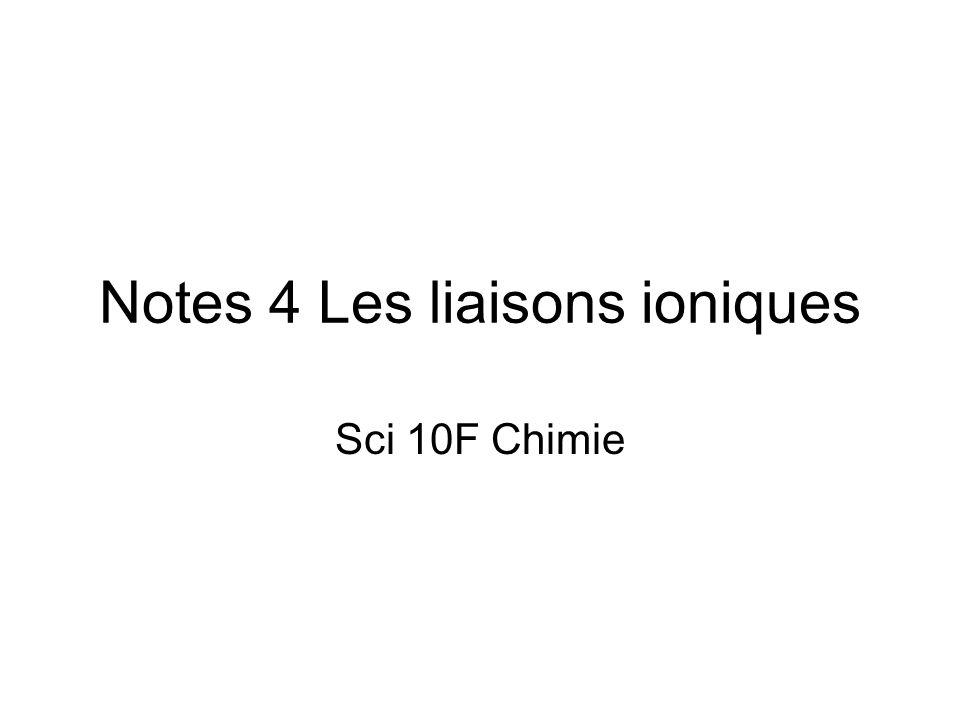 Notes 4 Les liaisons ioniques