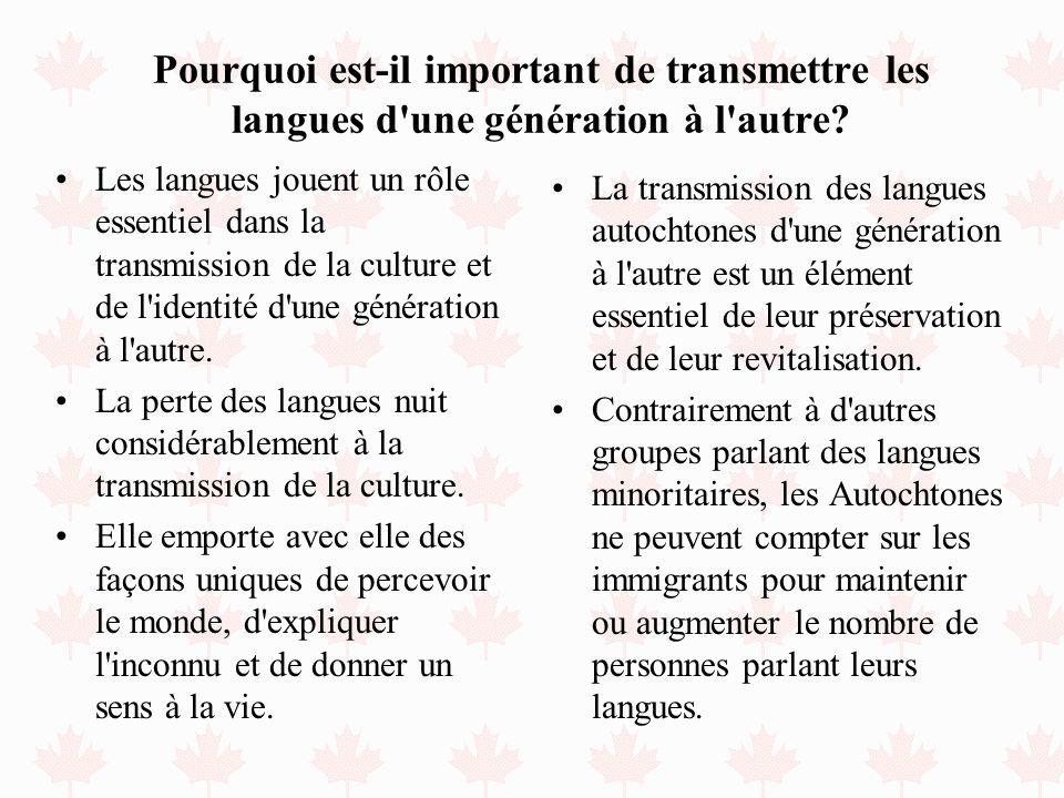 Pourquoi est-il important de transmettre les langues d une génération à l autre