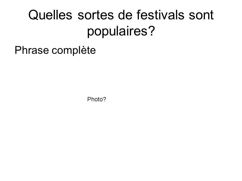 Quelles sortes de festivals sont populaires