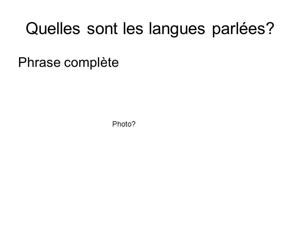 Quelles sont les langues parlées