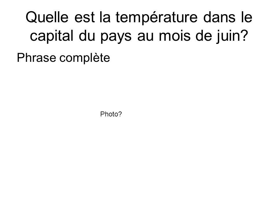 Quelle est la température dans le capital du pays au mois de juin