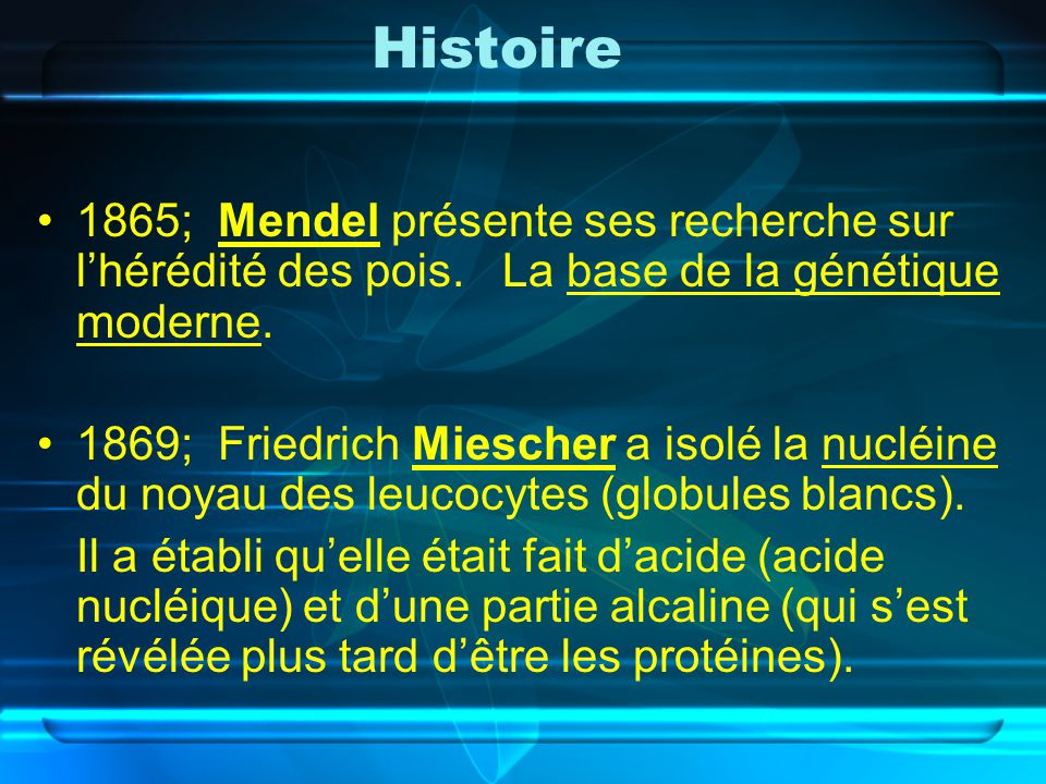 Histoire 1865; Mendel présente ses recherche sur l'hérédité des pois. La base de la génétique moderne.