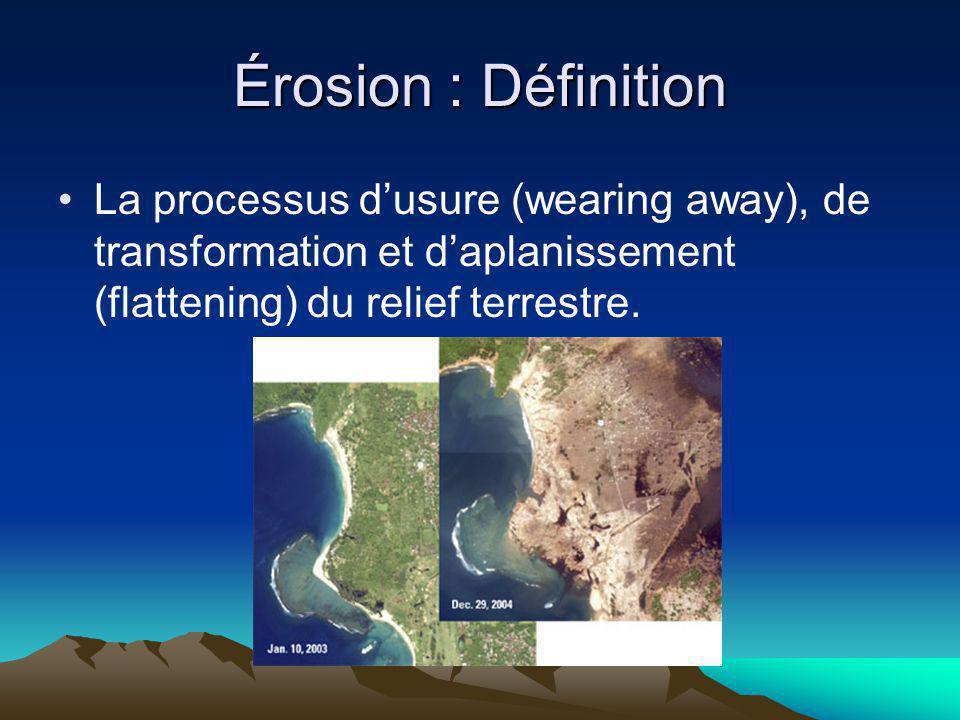 Érosion : Définition La processus d'usure (wearing away), de transformation et d'aplanissement (flattening) du relief terrestre.