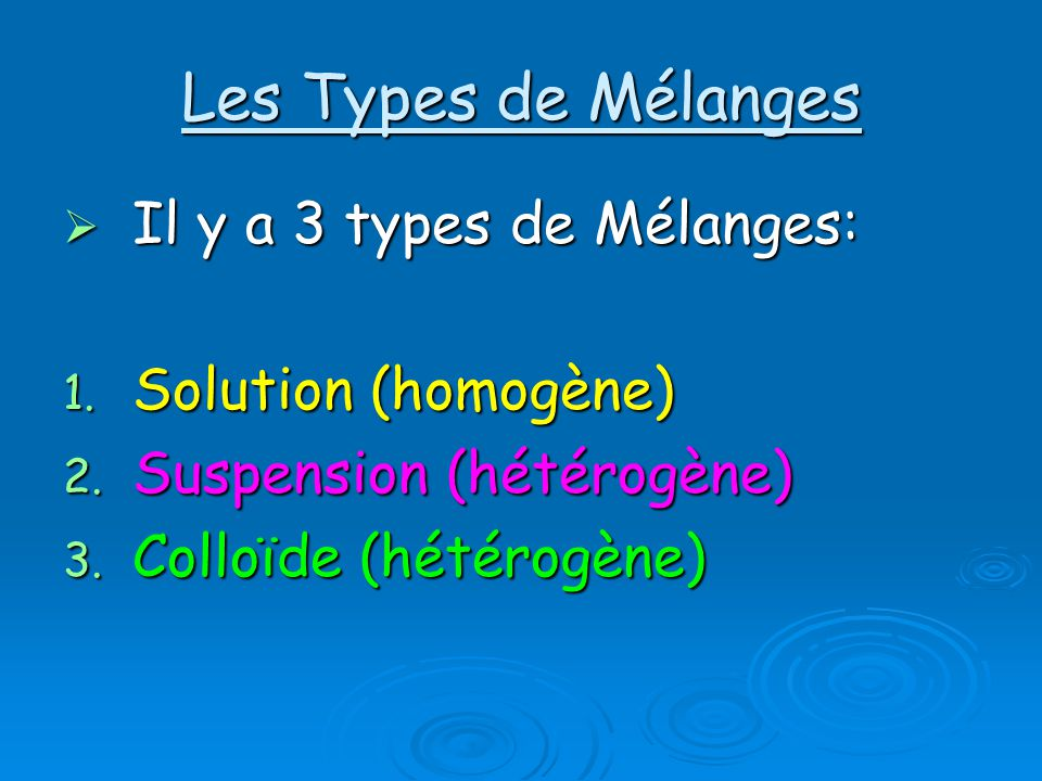 Les Types de Mélanges Il y a 3 types de Mélanges: Solution (homogène)