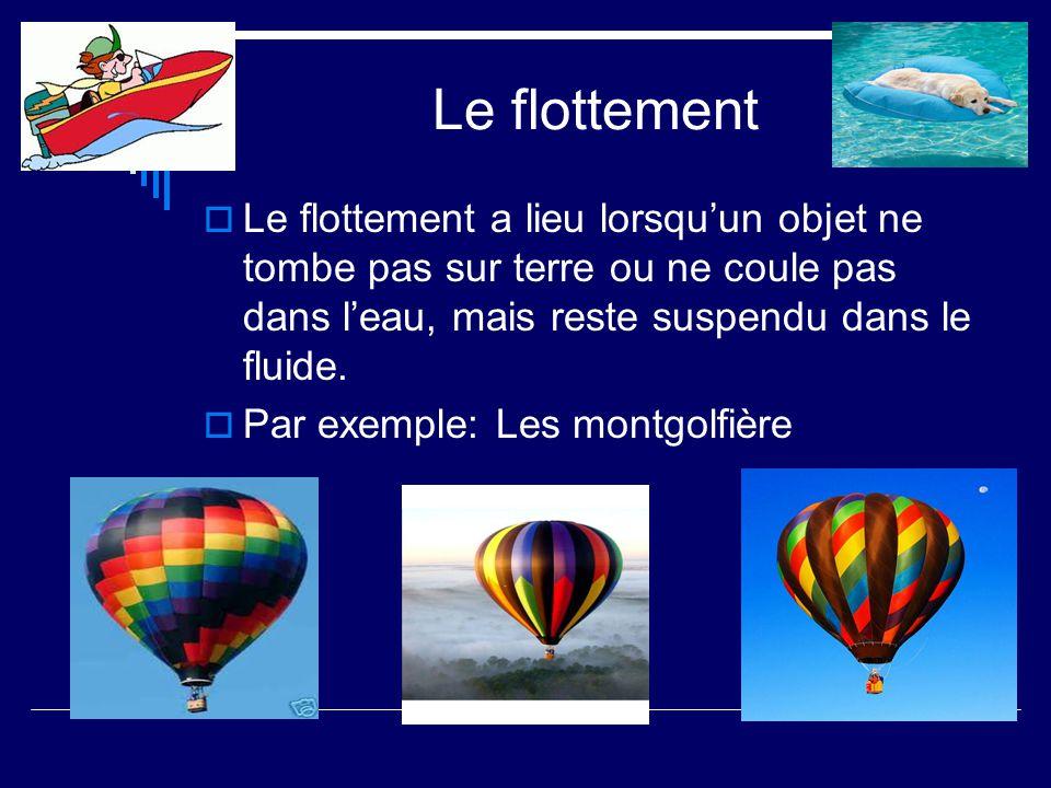 Le flottement Le flottement a lieu lorsqu'un objet ne tombe pas sur terre ou ne coule pas dans l'eau, mais reste suspendu dans le fluide.