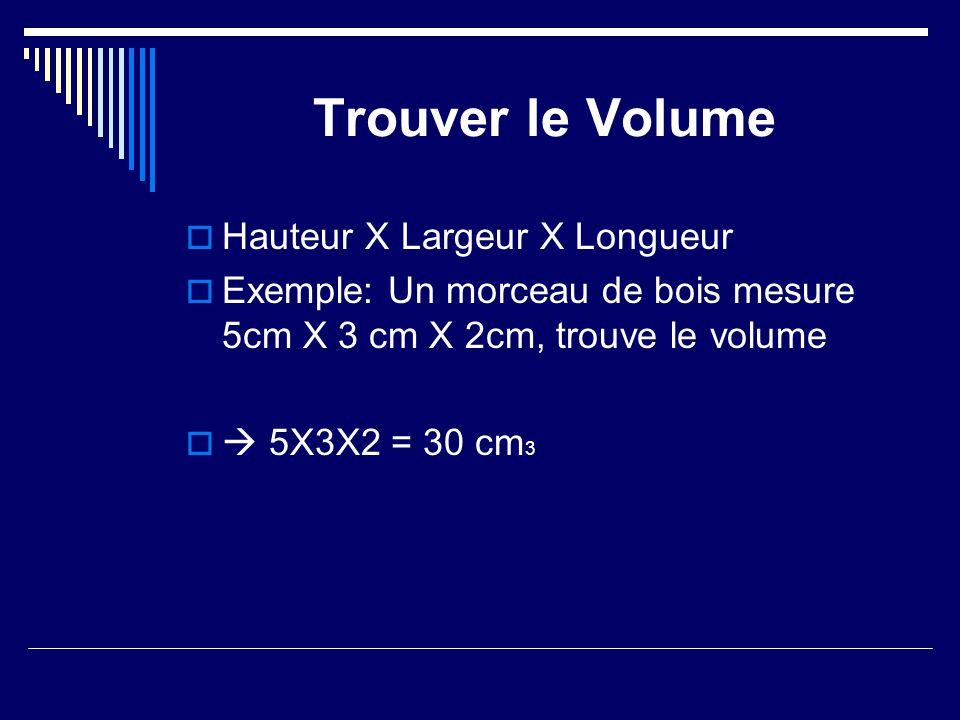 Trouver le Volume Hauteur X Largeur X Longueur