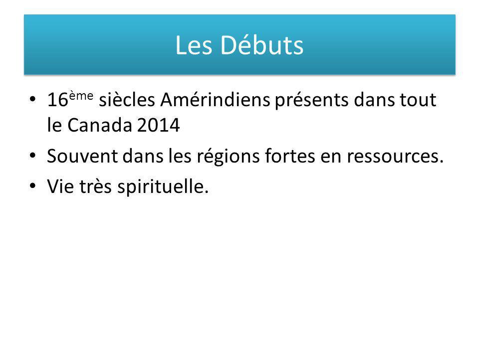 Les Débuts 16ème siècles Amérindiens présents dans tout le Canada 2014