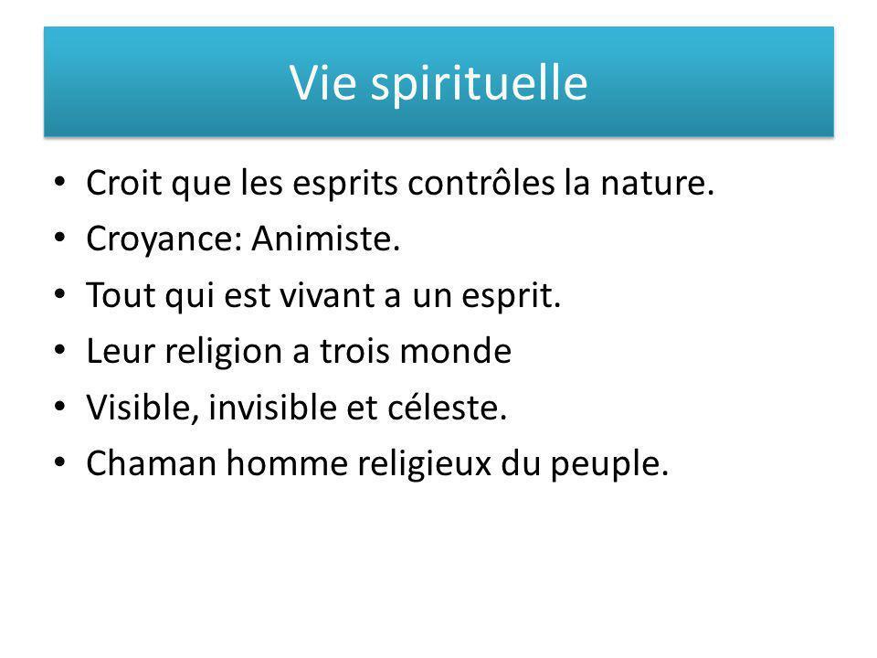 Vie spirituelle Croit que les esprits contrôles la nature.
