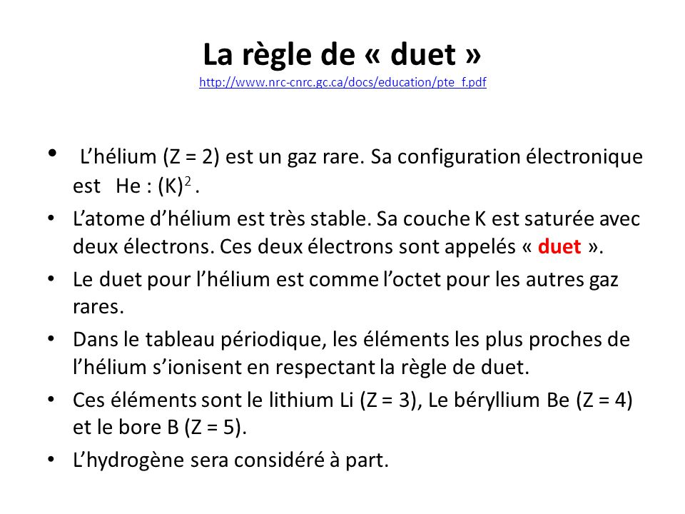 La règle de « duet » http://www. nrc-cnrc. gc. ca/docs/education/pte_f