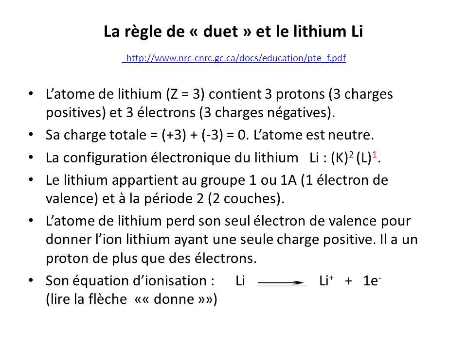 La règle de « duet » et le lithium Li http://www. nrc-cnrc. gc