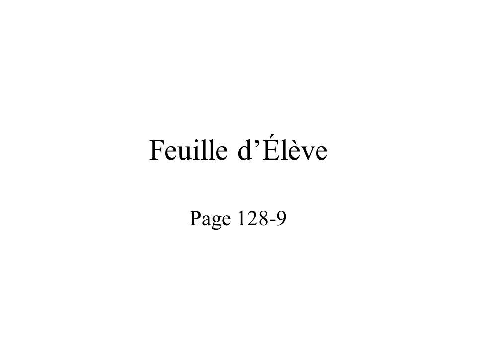 Feuille d'Élève Page 128-9