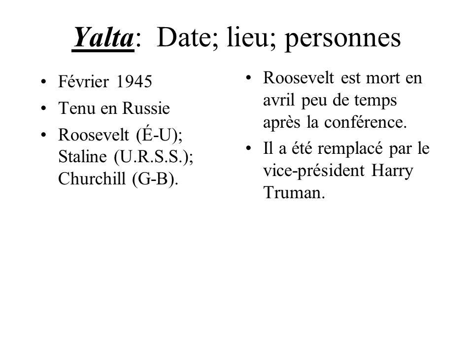 Yalta: Date; lieu; personnes