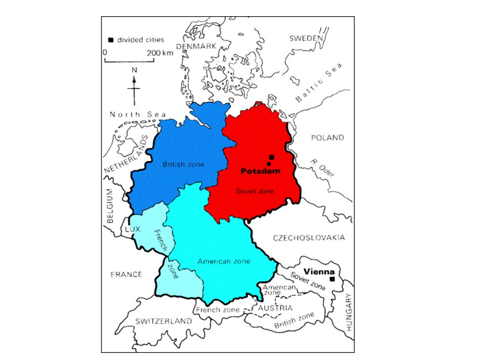 A map of how Germany was divided into zones