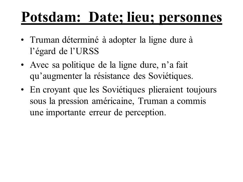 Potsdam: Date; lieu; personnes
