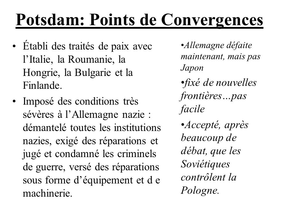 Potsdam: Points de Convergences