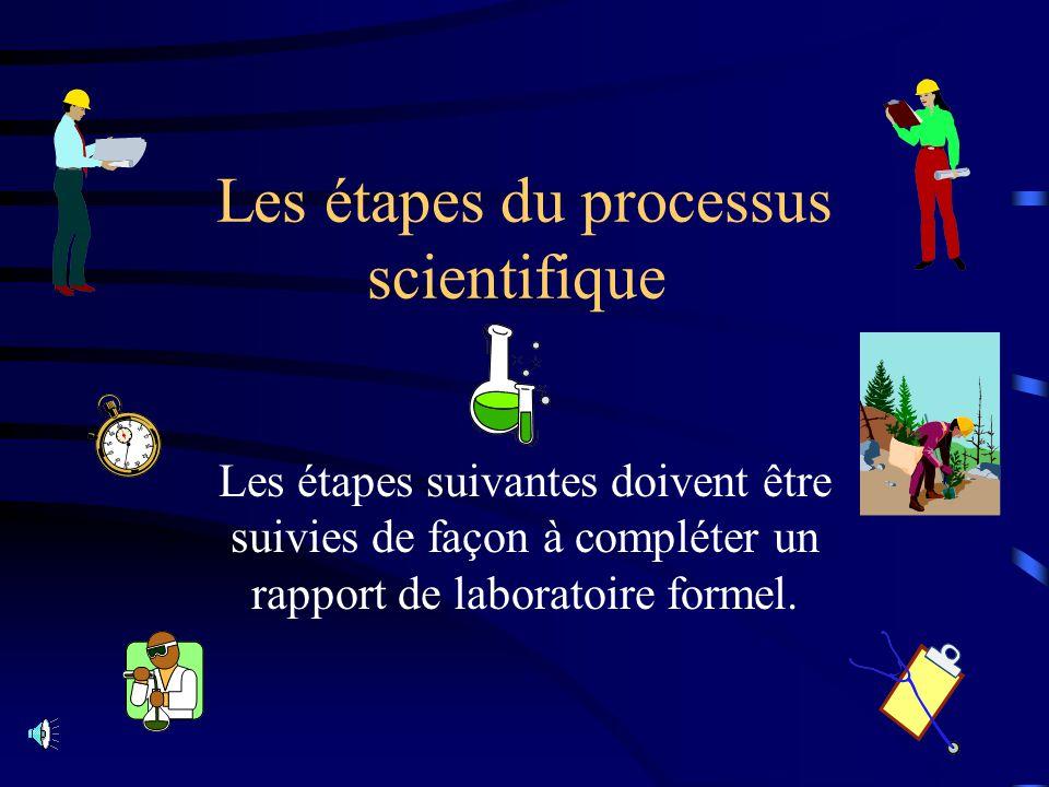 Les étapes du processus scientifique