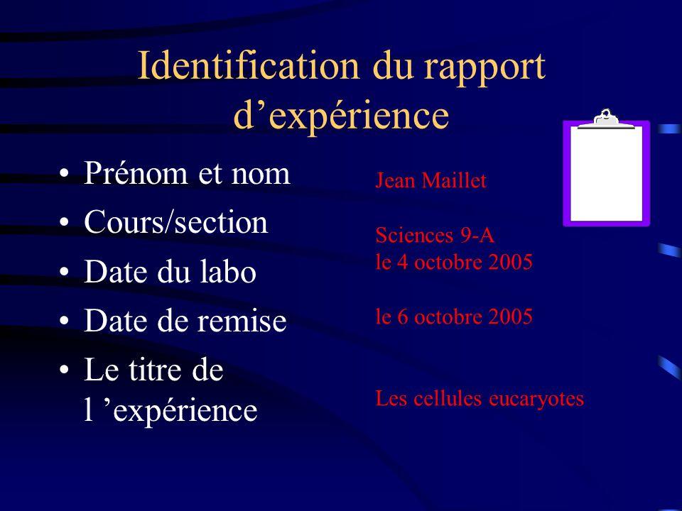 Identification du rapport d'expérience